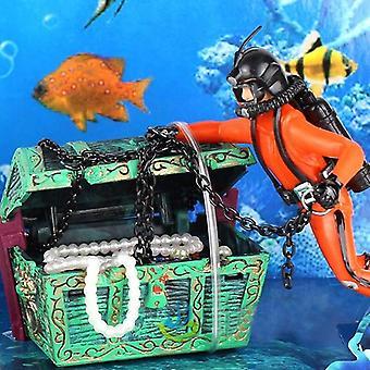 Aquarium decor voor onderzeese schatkist duiker home ornamenten landschap aquarium