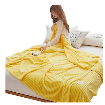 Striped Blankets Fluffy And Soft Sofa Bed Blankets, Warm And Comfortable Bedspreads, Blankets
