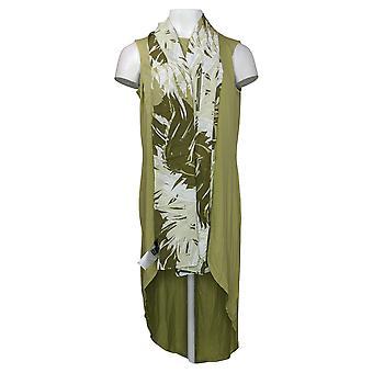 G by Giuliana Petite Dress EcoLuxe Drama Tank with Scarf Green 741895