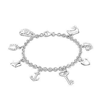 """TJC Zilveren Multi Charm Armband voor Vrouwen Shinny Gestempelde Sieraden Maat 7.5"""""""