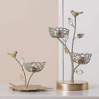 Scandinavische stijl geïnspireerd ijzeren vogel en bladeren kandelaars (2 Nesten)