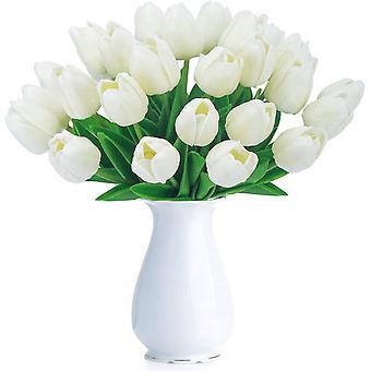 צבעוני מלאכותי מזויף הולנד מיני צבעוני מגע אמיתי פרחים 24 יח ' עבור Diy בית מסיבה חתונה תפאורה (כחול)