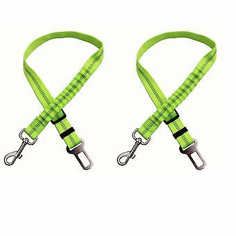 2pcs de cinturones de seguridad para automóviles, con absorción de impactos y elasticidad ajustable para perros, suministros para mascotas cinturones de seguridad para perros, cuerda de seguridad reflectante elástica (verde)