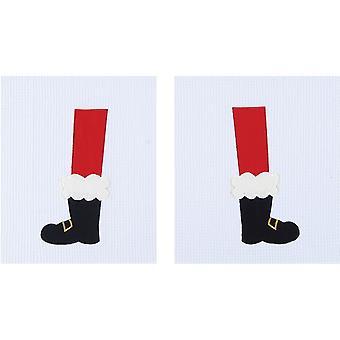 Santas buty nogi Boże Narodzenie stóp Holiday, splot wafel ręczniki kuchnia zestaw 2