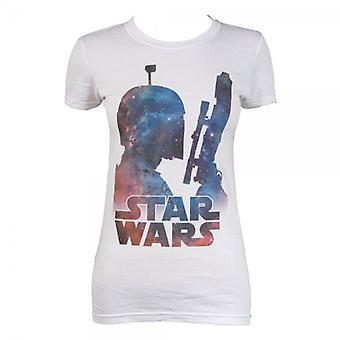 Senhoras de Star Wars Star Wars Boba Fett nebulosa T camisa branca