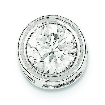925 Sterling Sølv Solid Åpen tilbake Rundt CZ Cubic Zirconia Simulert Diamant Kjede Slide Smykker Gaver til kvinner