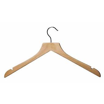 Caraselle Shaped Wooden Jacket/Shirt Hanger with notches 44cm