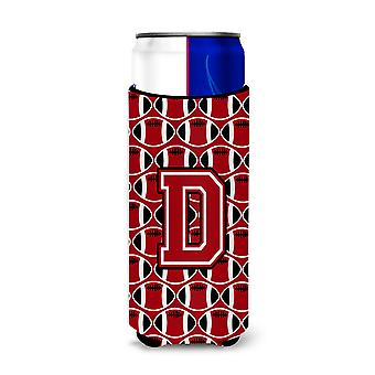 Letter D Football Red, Black and White Ultra Beverage Insulators for slim cans