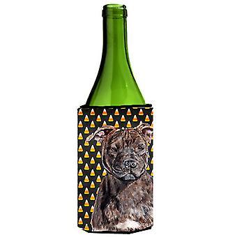 Staffordshire Bull Terrier Staffie Candy Corn Halloween Wine Bottle Beverage Ins