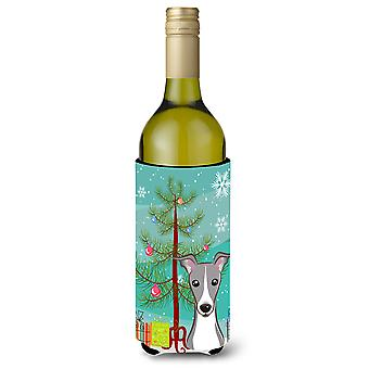 Christmas Tree and Italian Greyhound Wine Bottle Beverage Insulator Hugger