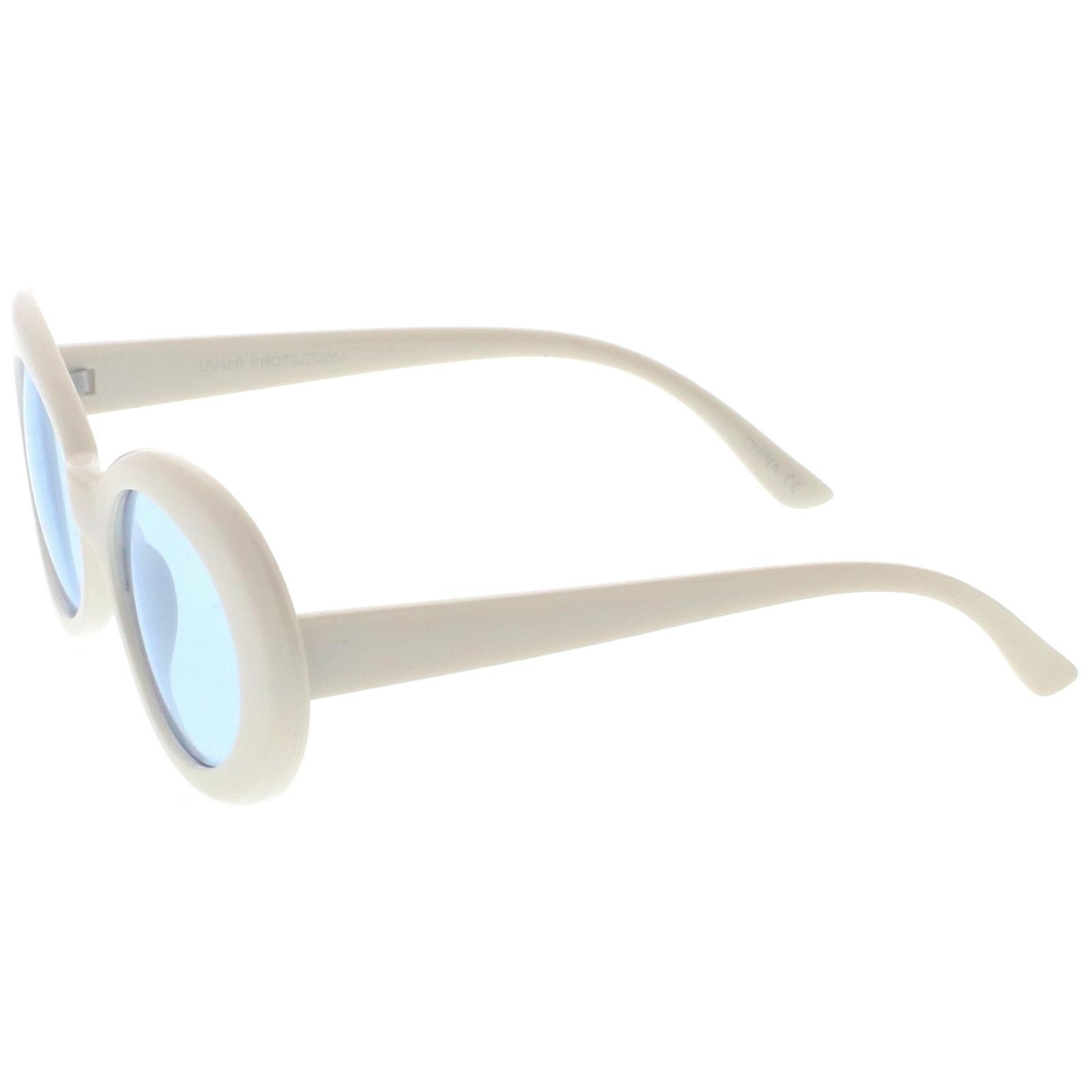 Retro Oval solglasögon med avsmalnande armar neutralt färgade runda linsen 51mm