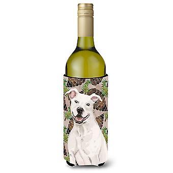 White Staffie Bull Terrier Pine Cones Wine Bottle Beverge Insulator Hugger