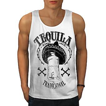 Tequila Traditional Men WhiteTank Top | Wellcoda