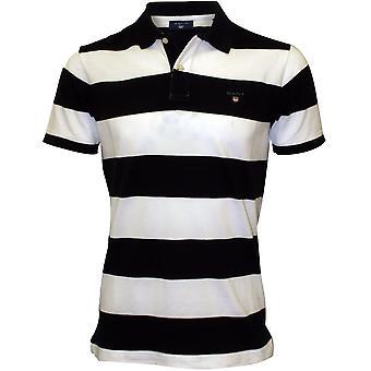 Gant Bar Stripe Pique Rugger Polo Shirt, Navy/White