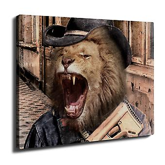 Lion Gun Criminal Wall Art Canvas 40cm x 30cm | Wellcoda