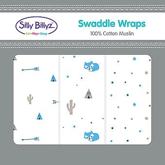 Silly Billyz Swaddle Wrap 3pk Various designs