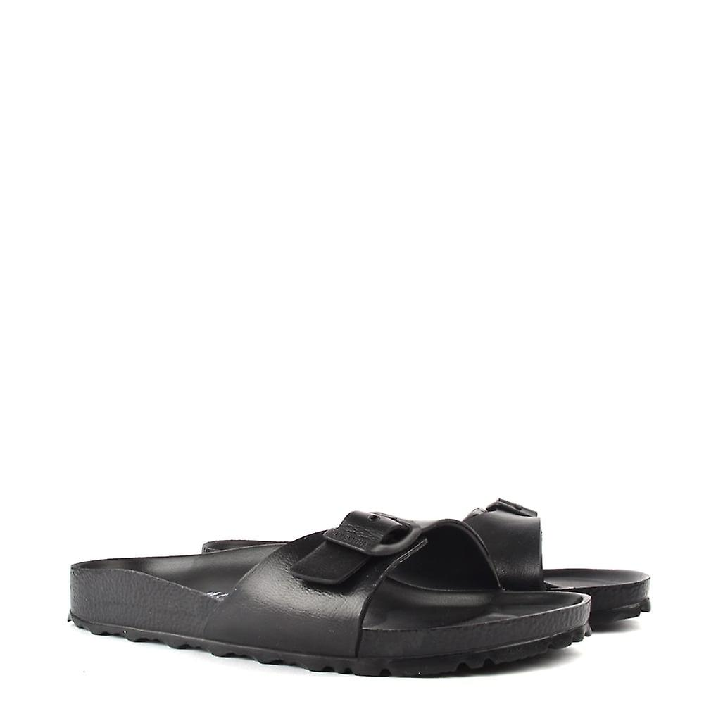 latest fashion factory outlets hot new products Birkenstock Madrid Black Rubber Buckle Flat Sandal | Fruugo