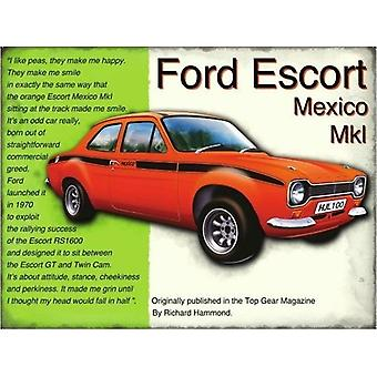 Ford Escort Mexico Metal assinar 400 X 300 Mm