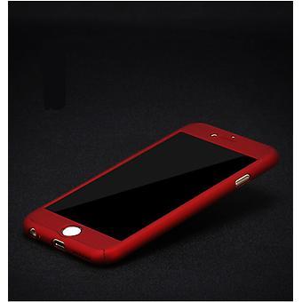 Apple iPhone 8 Plus Caixa de proteção de caixa de telefone caixa completa tampa tanque proteção vidro vermelho