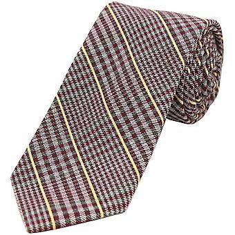 David Van Hagen Tweed Design ull rik slips - rød/gul