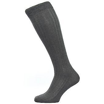 Pantherella Danvers Rib Over the Calf Cotton Lisle Socks - Dark Grey Mix