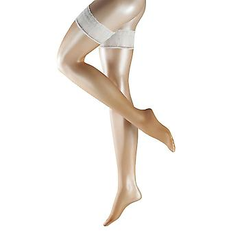 Falke Lunelle Ultra-Transparent Shimmer 8 Denier Stockings - Powder/White