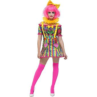 Smiffy's Fever Patchwork Clown Costume, With Dress, Attached Braces & Bow Headband