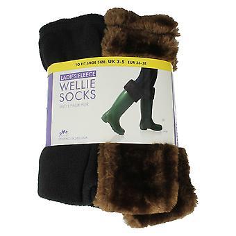 Ladies RJM Fleece Wellie Socks With Faux Fur Style - SK282CDUA