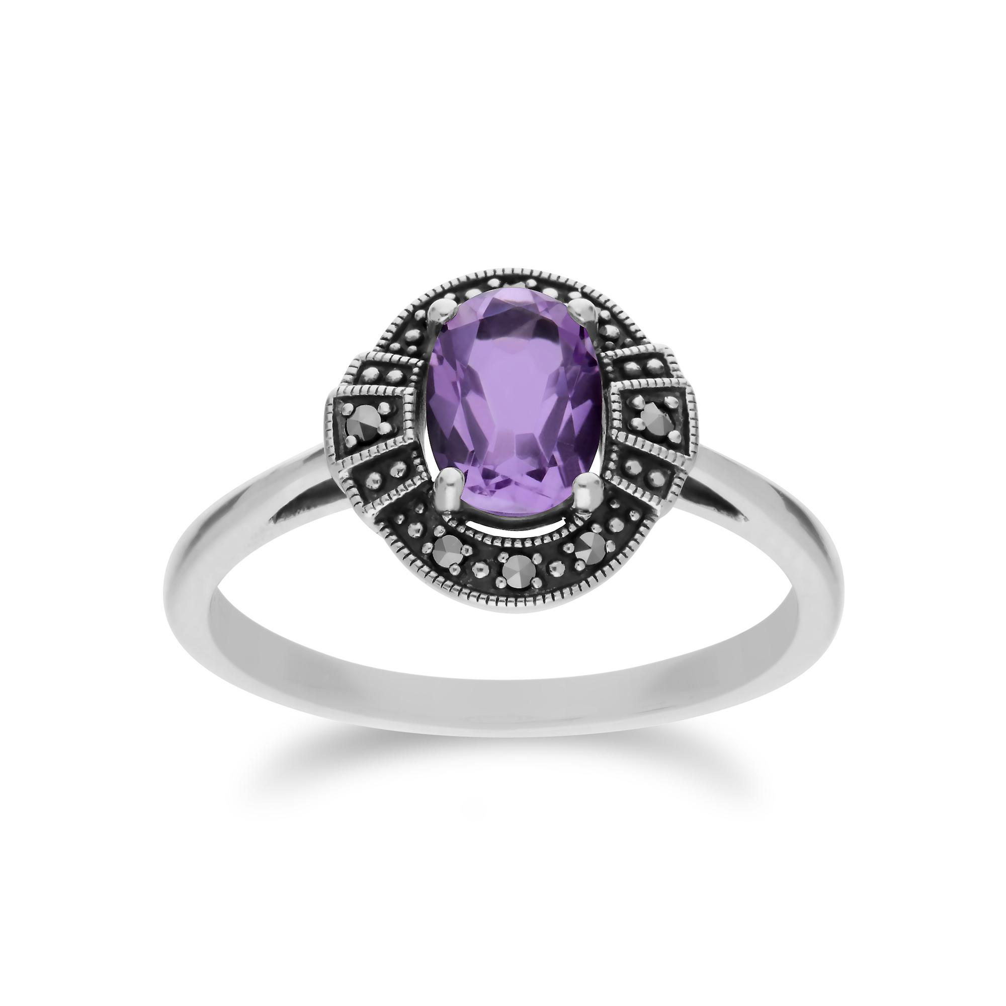 Gemondo Sterling Silver Oval Amethyst and Marcasite Cluster Ring