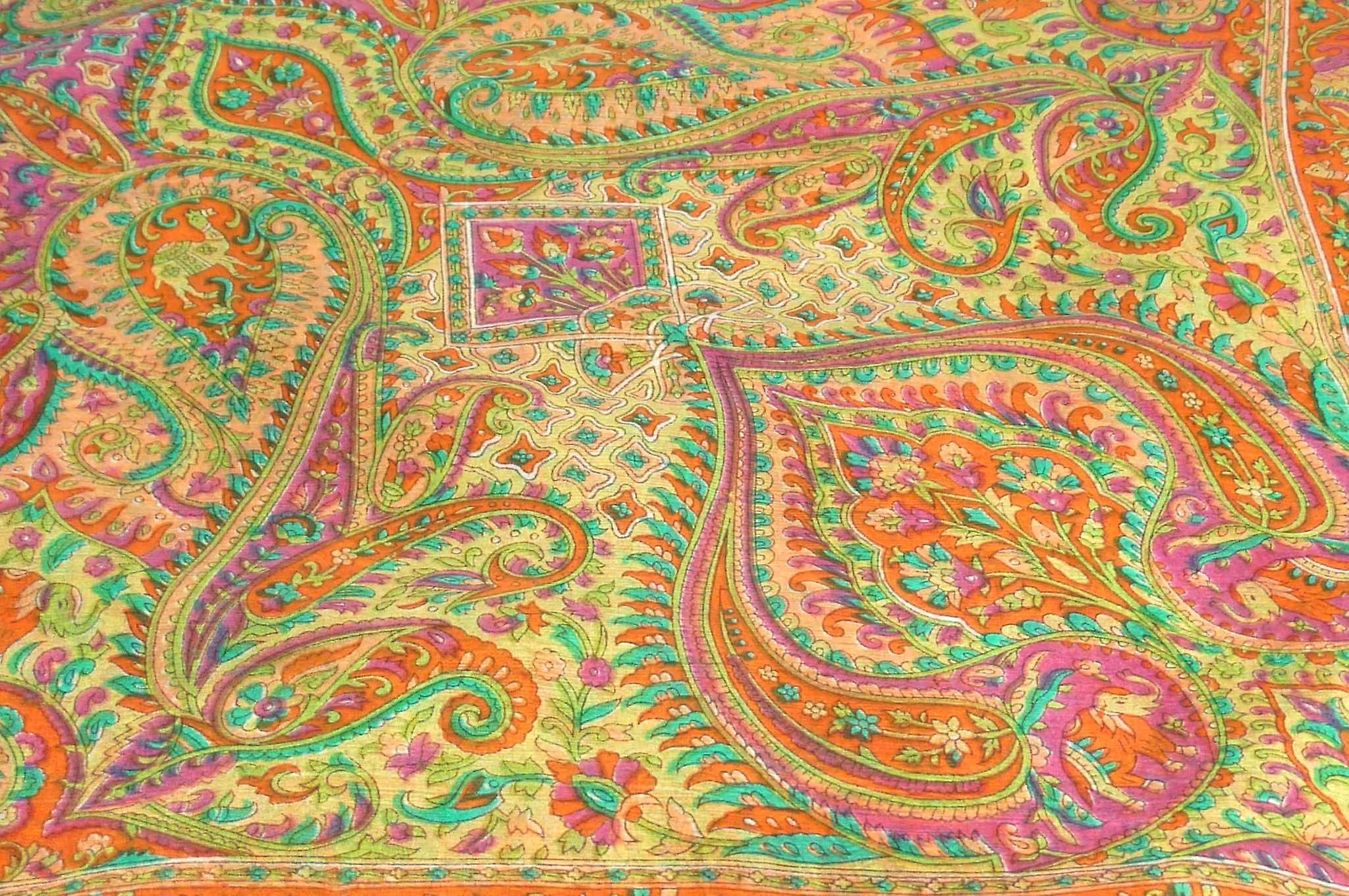 Mulberry Silk Traditional Square Scarf Zazim Terracotta by Pashmina & Silk