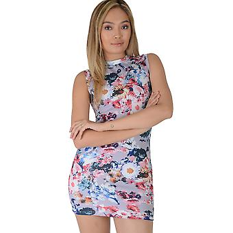 Lovemystyle Lilac High Neck Bodycon Dress With Floral Print - SAMPLE
