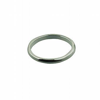"""الذهب الأبيض 18 قيراط 2 مم عادي د على شكل """"خاتم الزواج ف الحجم"""""""