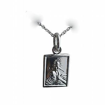 Серебряный 12x10mm прямоугольные St Кристофер кулон или очарование с Роло цепь 24 дюймов