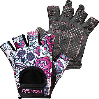 Contraband Sports 5237 Pink Label Sugar Skull Weight Lifting Gloves - Pink