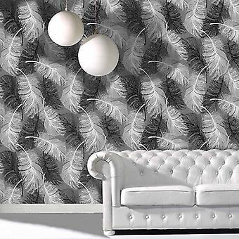 Feather Wallpaper Glitter Effect Textured Monochrome Grey Black White