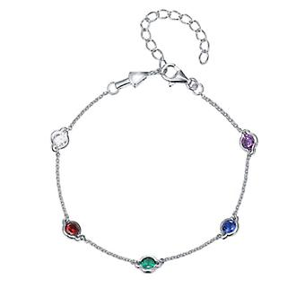 925 Sterling Silver Droplet Bezel Chain Bracelet Coloured Stones