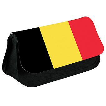 Belgium Flag Printed Design Pencil Case for Stationary/Cosmetic - 0017 (Black) by i-Tronixs
