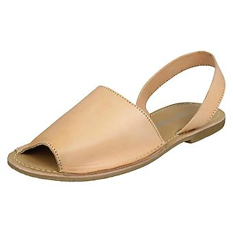 Ladies Leather Collection Slingback Mule Sandals F00143 - Tan Leather - UK Size 8 - EU Size 41 - US Size 10