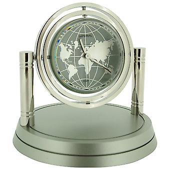 Miniature Chrome Plated Metal Gyro Globe Novelty Collectors Desktop Clock IMP422