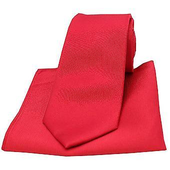 David Van Hagen Diagonal Ribbed Plain Tie and Pocket Square Set - Red