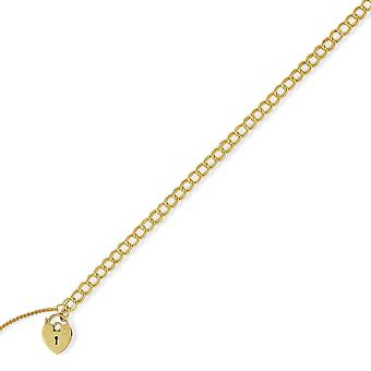 Jewelco London Ladies 9ct Yellow Gold 5.5mm Double Curb Charm Bracelet Heart Padlock