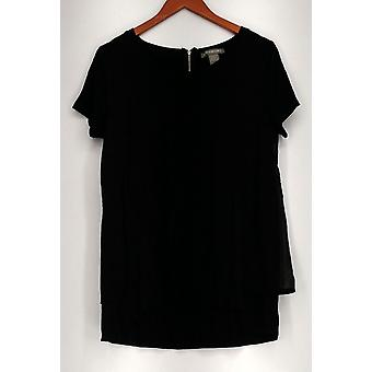 Kate & Mallory Top Short Sleeve Tunic with Layered Back Black A417028