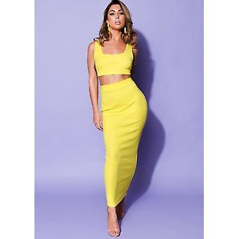 Top de punto acanalado y falda Midi Co Ord amarillo