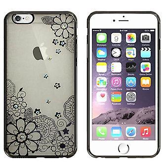 iPhone 5 og 5S SE tilfelle blomster svart - backcover klar støtfanger utseende