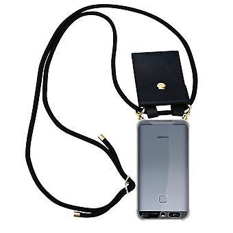 Cadorabo Funda de cadena de teléfono para Huawei P9 Funda de la funda - Collar hombros caso silicona con cordón de cinta y caja extraíble - Cubierta de la funda protectora de la cubierta de la caja
