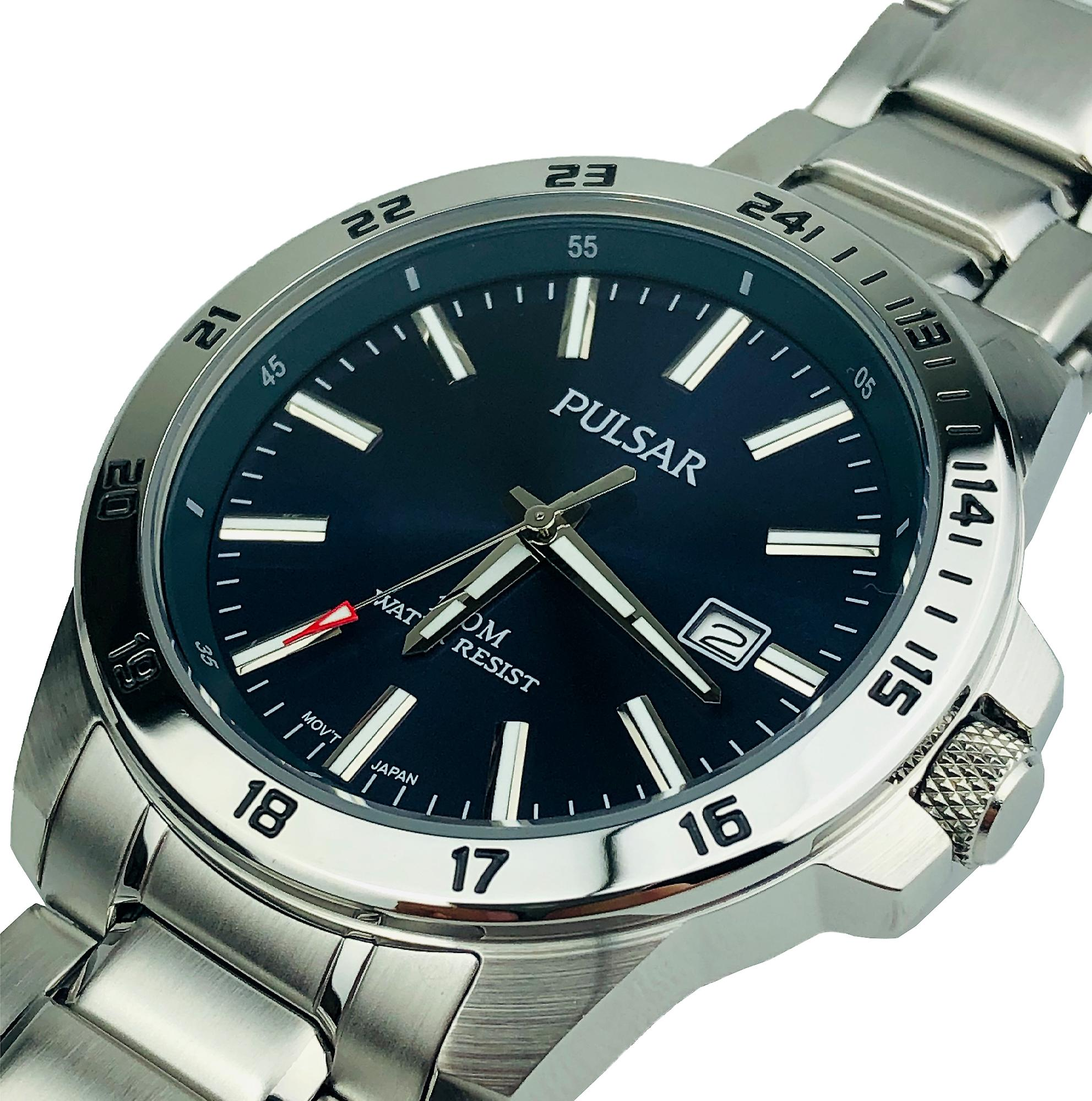 Pulsar Sport Silver Stainless Steel Blue Dial Mens Watch PS9331X1 43mm