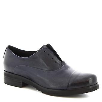 Leonardo Shoes Chaussures Femme-apos;chaussures à lacets Oxford faites à la main en cuir de veau bleu