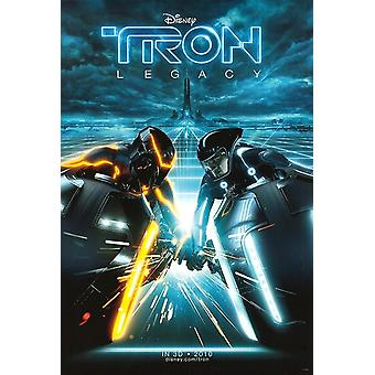 Tron Legacy Poster (Jeff Bridges) Lightbike Battle Double Sided Advance (2010) Original Cinema Poster