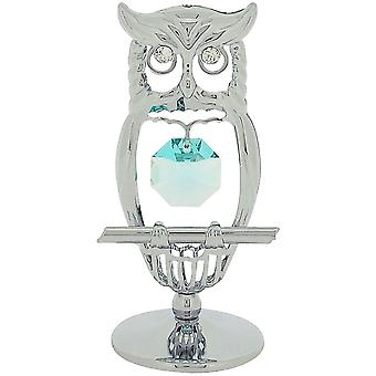 Crystocraft Chrome Plated Keepsake Gift Ornament - Owl made with Swarvoski Crystals by CRYSTOCRAFT