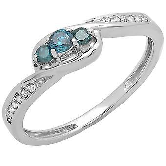 Dazzlingrock Collection 0.25 Carat (ctw) 10K Blue & White Diamond 3 Stone Engagement Ring 1/4 CT, White Gold